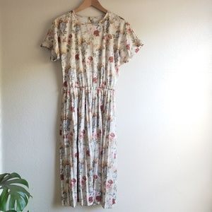 Vintage Floral Print Modest Pleated Skirt Dress